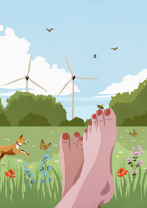 POV carefree barefoot woman relaxing in sunny idyllic spring meadow with wind turbines