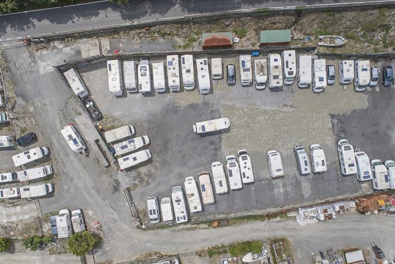 Top down view caravans parked in caravan park