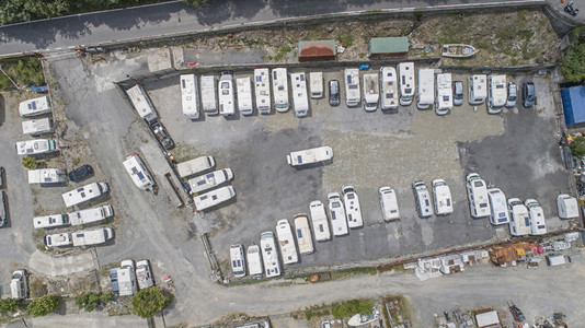 Top down view caravans parked in caravan park