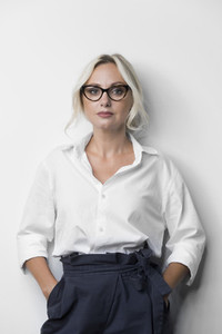Portrait confident with determined businesswoman