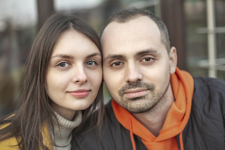 Portrait confident with attractive young brunette couple