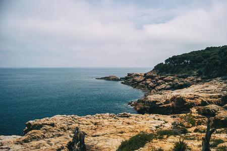 Landscape of the Costa Brava in Catalonia Spain With a blue sea