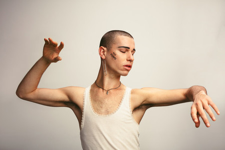 Young transgender person dancing
