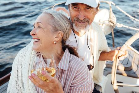 Smiling elderly couple enjoying