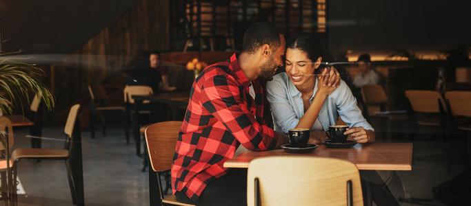 Romantic couple on coffee date