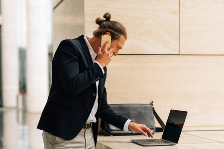 Side view of businessman