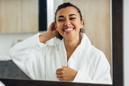 Happy woman with closed eyes