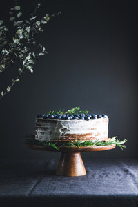 Chocolate layer cake with fresh blueberry decorated rosemary branch on a wooden tray in a dark interior