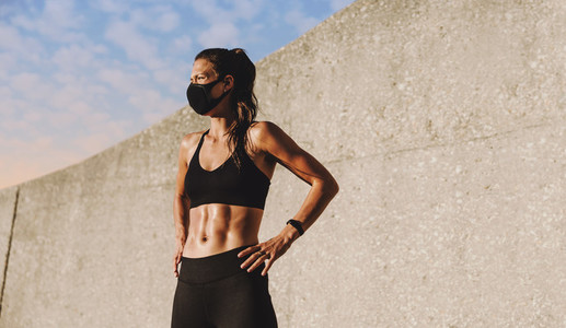 Woman relaxing after outdoor workout