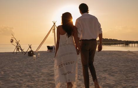 Loving couple at an island resort