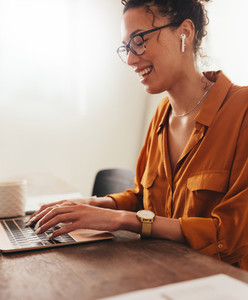 Woman enjoying working from home
