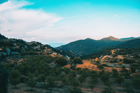 Landscape of the Prades mountains in Tarragona Spain