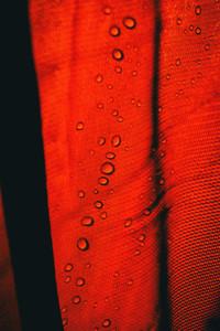 drops on a waterproof cloth