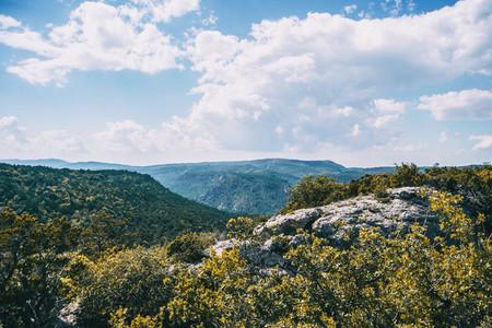 Landscape of the Prades mountains  in Tarragona  Spain