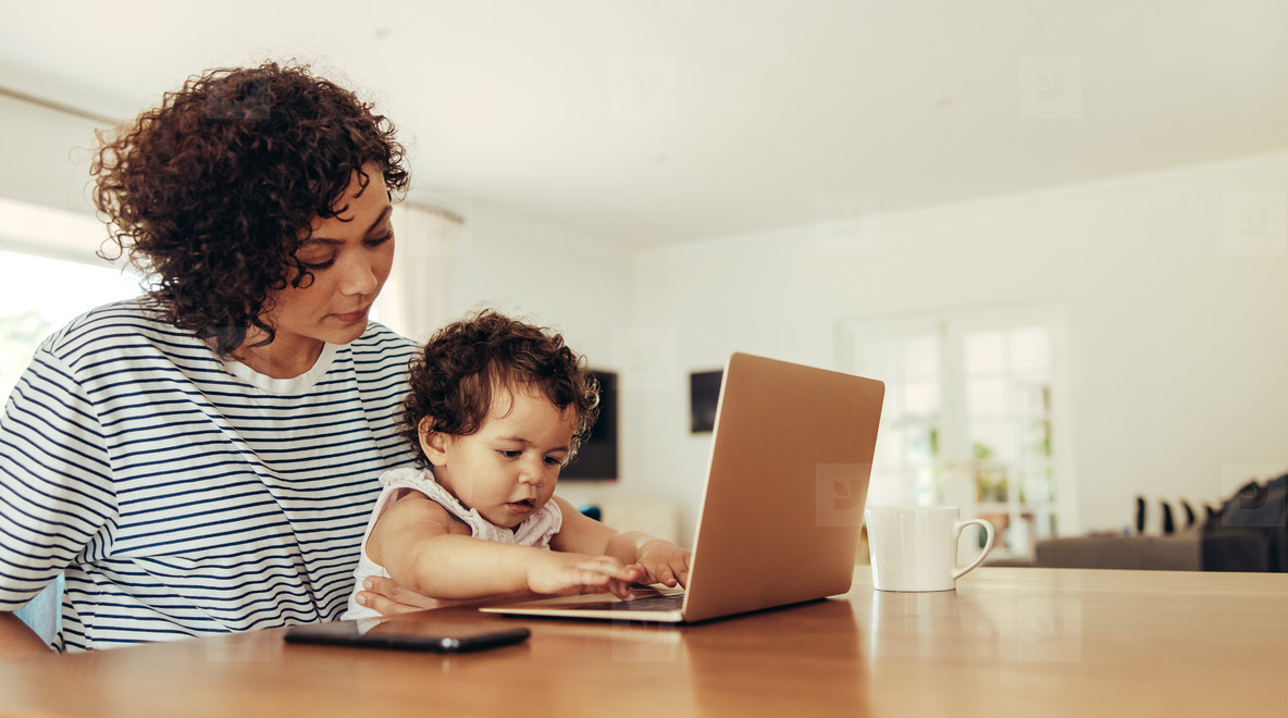 Working mom at home with child