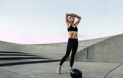 Woman feeling exhausted after workout