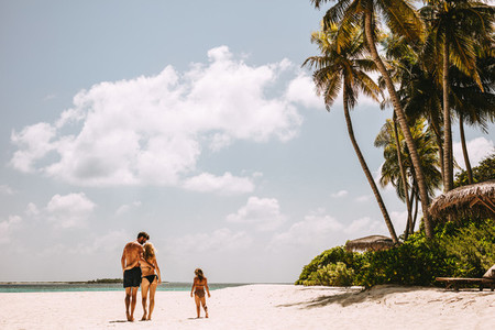 Tropical beach holiday with family