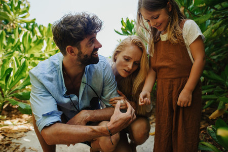 Family on a holiday at a tropical destination
