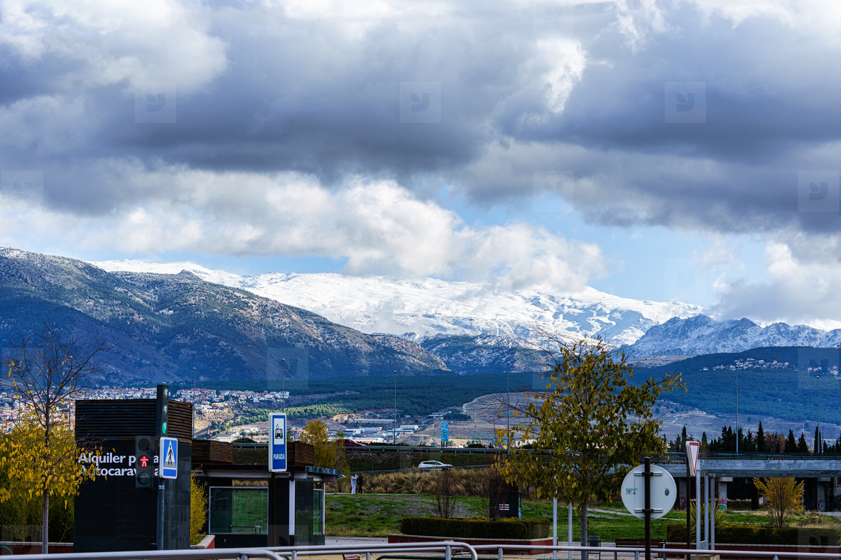 GRANADA  ANDALUSIA  SPAIN  5 DECEMBER 2020  Snowy ski slopes in the Sierra Nevada mountains