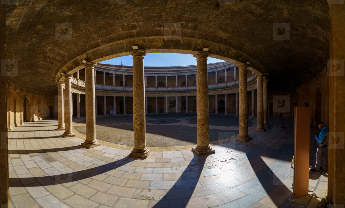 Granada  Spain  December 13th 2020  Courtyard of the Palace of Carlos V in the Alhambra in Granada