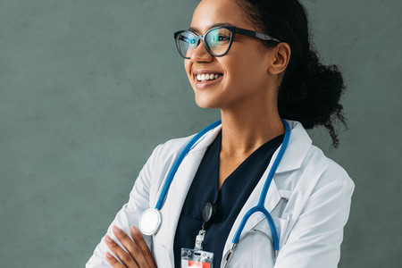 Portrait of a happy beautiful doctor with a stethoscope