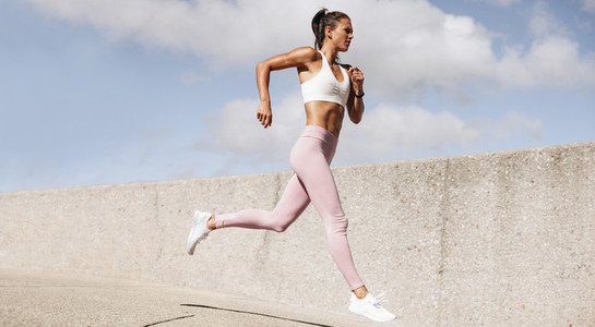Fit and healthy woman on morning run