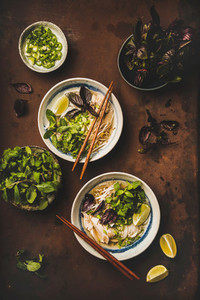 Flat lay of Vietnamese lunch with chicken soup Pho Ga