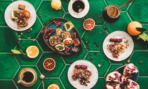 Flat lay of Turkish traditional lokum sweet delight with Turkish coffee