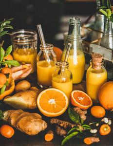 Fresh fruit vitamin immune boosting drink over kitchen counter close up