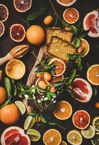 Citrus seasonal Mediterranean loaf cake with fresh fruits and flowers