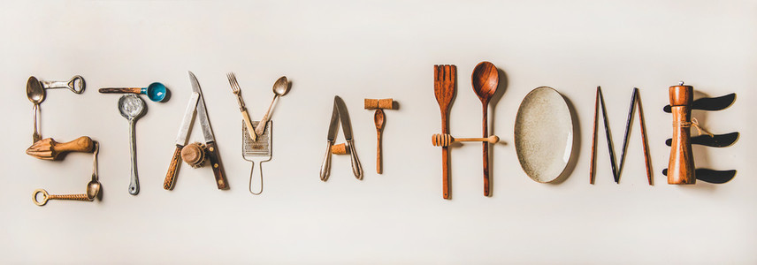 Stay at home lettering made from kitchen utensils during coronavirus