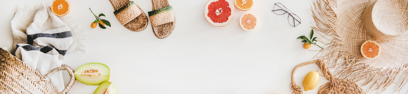 Summer layout with accessories and fruits  copy space  wide composition