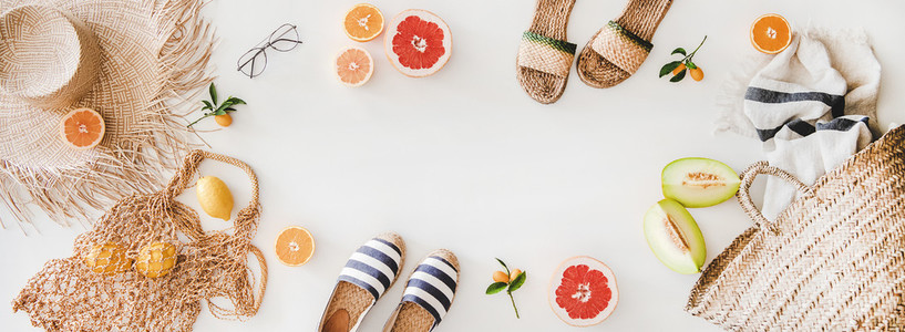 Summer mood layout with accessories and fruits  copy space