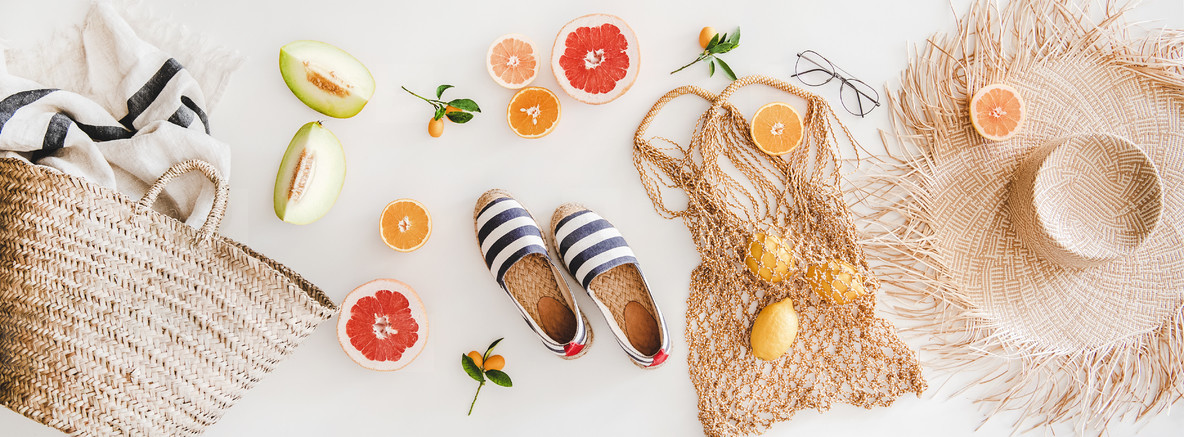 Summer mood layout with accessories and fruits  top view