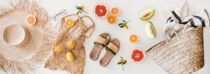 Summer mood layout with feminine accessories and fresh fruits