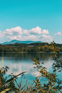 View of Banyoles Lake in Gerona Catalonia Spain