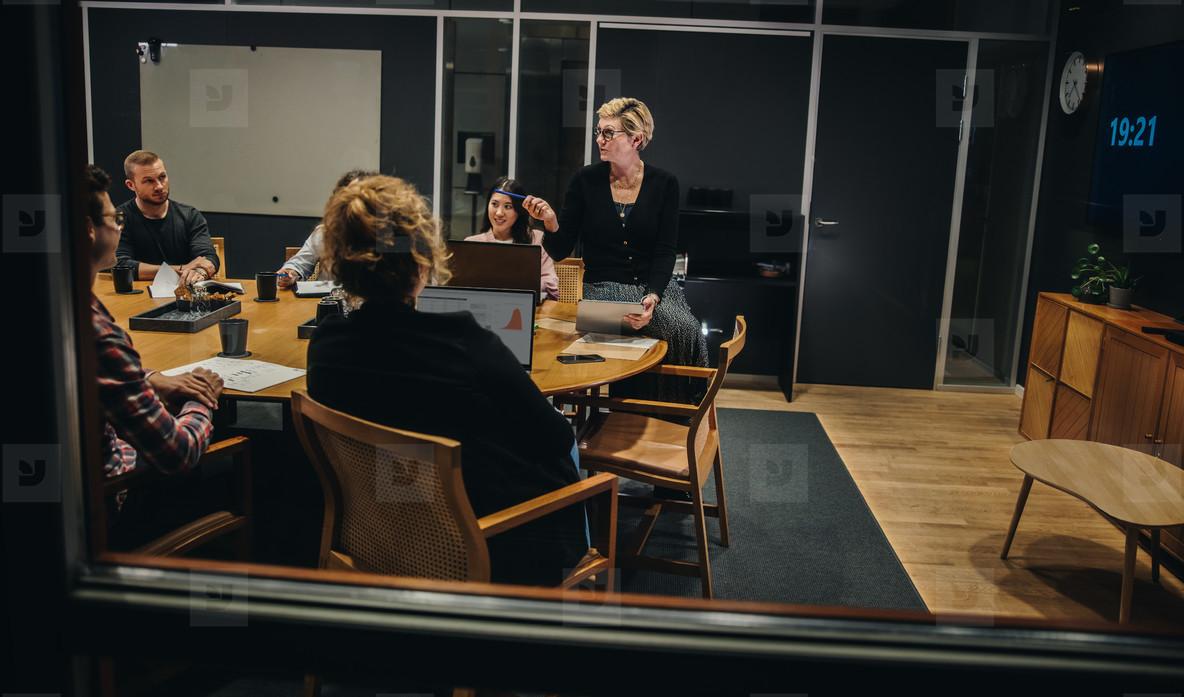 Corporate meeting in office boardroom
