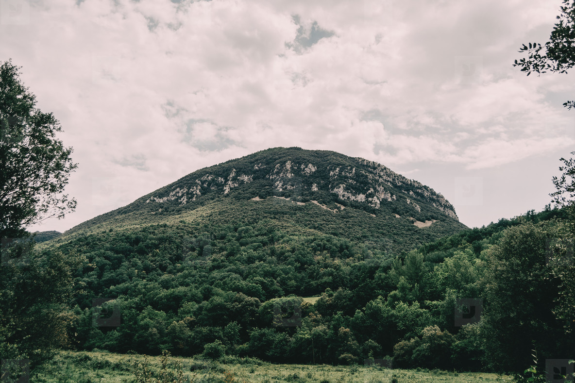 mountains of sadernes on a cloudy summer day in spain