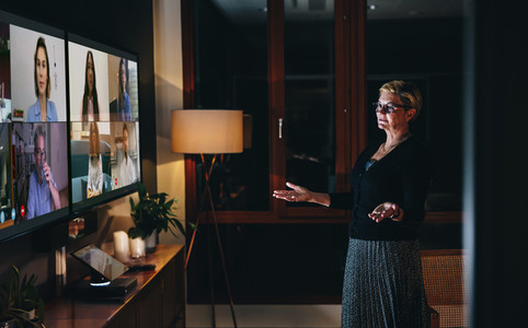 Businesswoman leading a video conference call