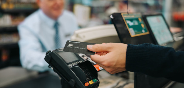 Contactless payment at supermarket
