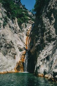 Landscape of green cascade in sadernes  catalonia