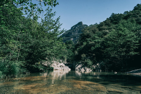 Landscape of green mountains in sadernes catalonia