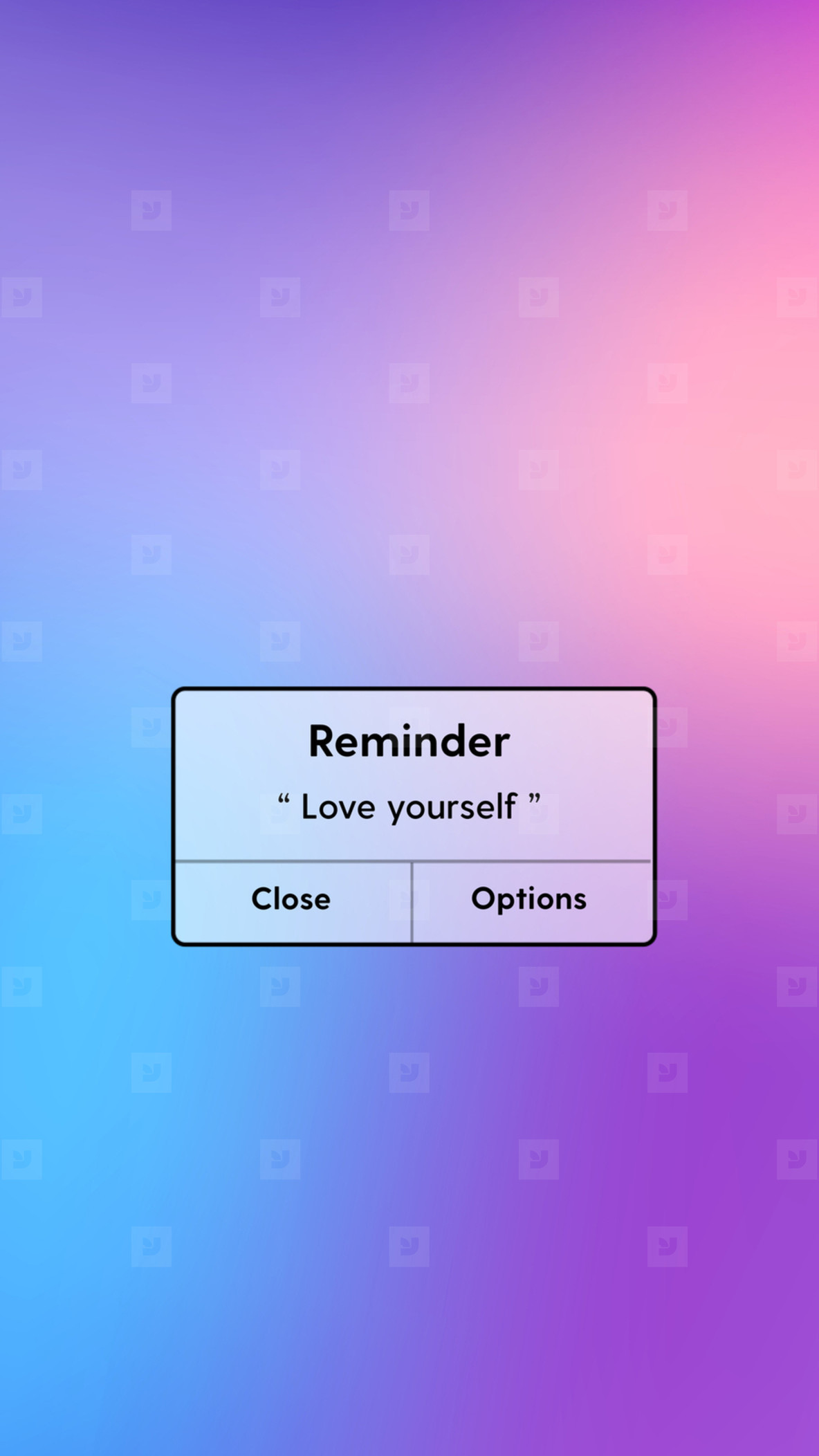 Reminder message interface with love yourself word on gradient b