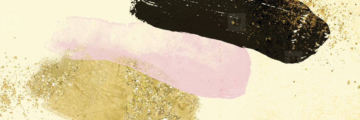 Abstract modern watercolor shape with gold glitter noise grain t