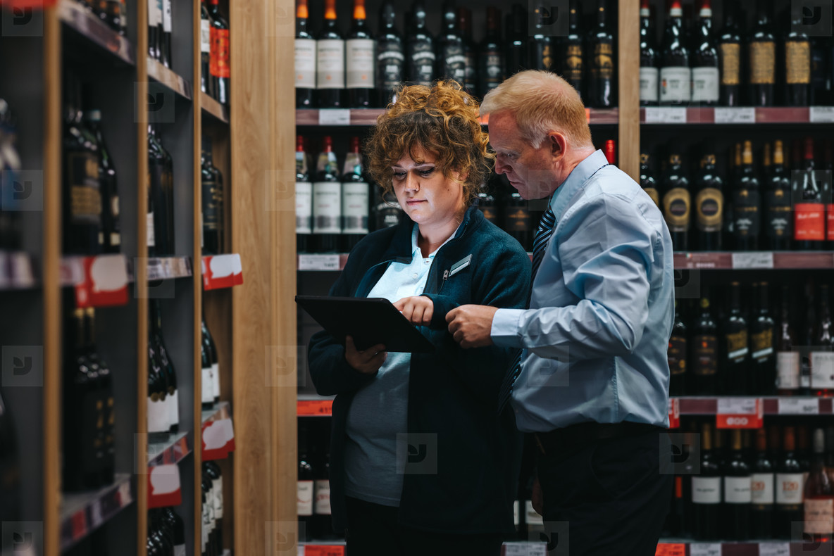 Stock taking in a wine shop