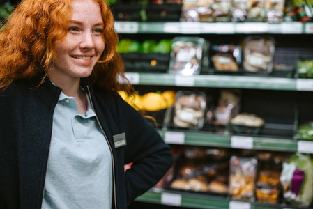 Woman working in a grocery store