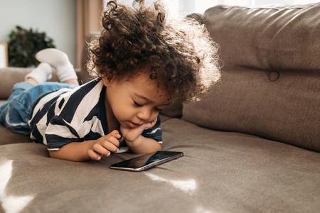 Toddler watching video
