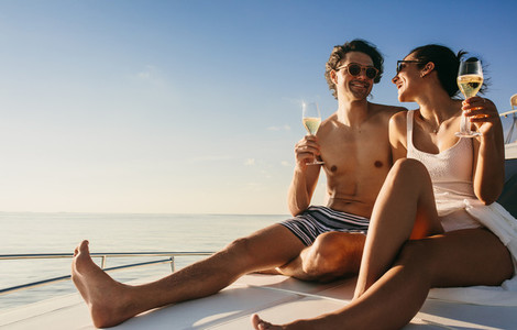 Couple experiencing luxury cruise ride