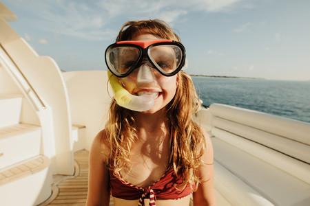 Girl in an underwater diving gear