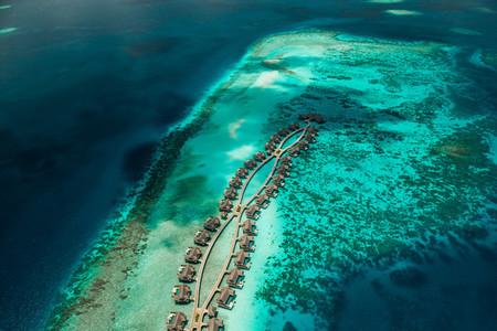 Aerial view of a tropical beach resort